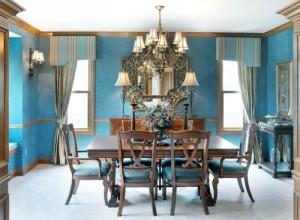 Голубые обои в гостиной — советы мастеров