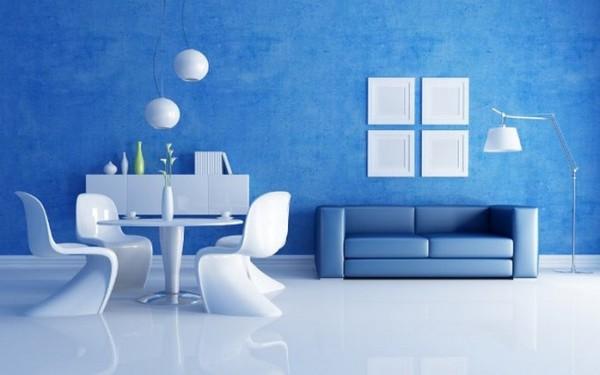 голубые обои для гостиной