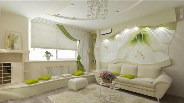 интерьер окна в гостиной
