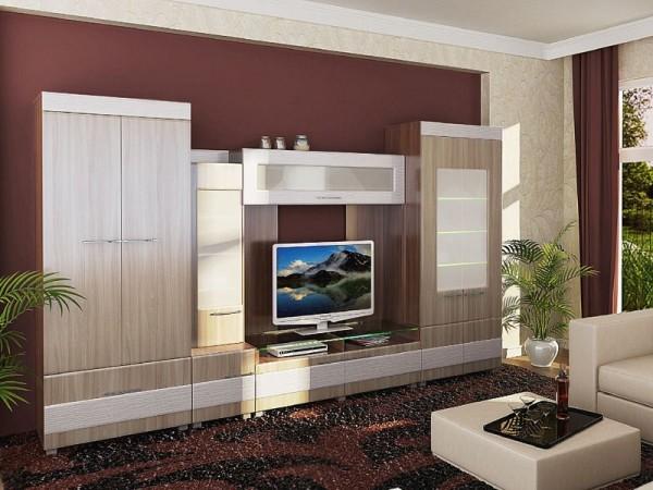стильная стенка в гостиной