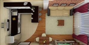 Планировка гостиной, совмещенной с кухней