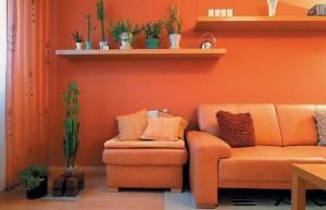 Оранжевая гостиная комната - позитивные тона в дизайне