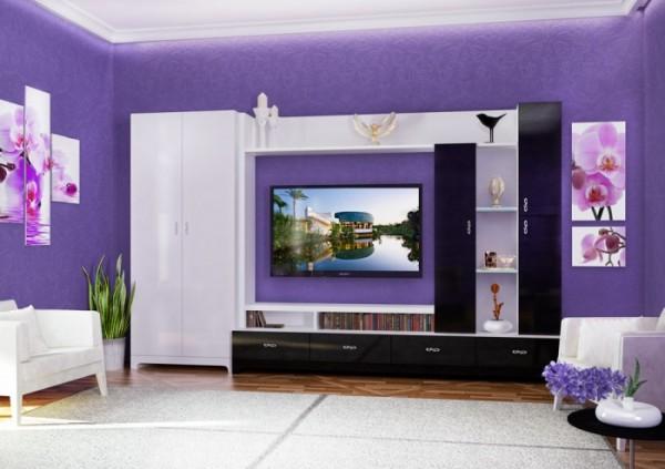 Глянцевые стенки в интерьере гостиной