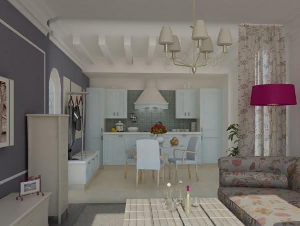 гостиная, объединенная с кухней