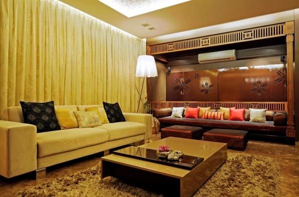 желтый в интерьере гостиной