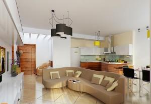 планировка гостиной-кухни
