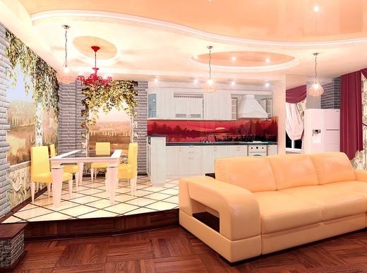 Гостиная-кухня в квартире-студии
