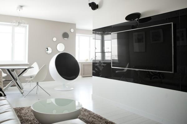 черный и белый глянец в интерьере гостиной