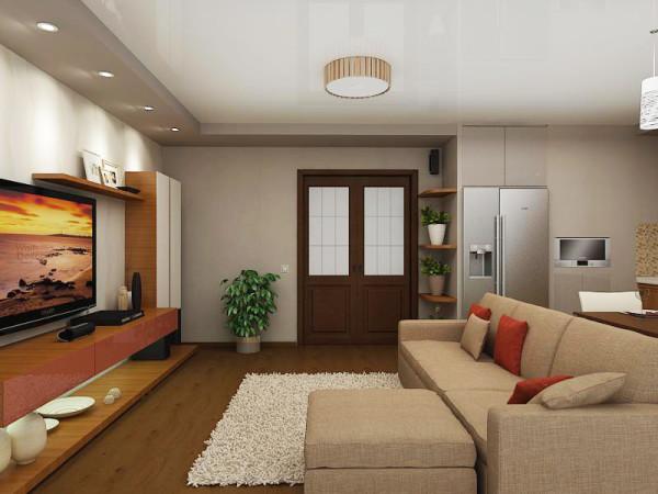 гостиная-кухня в квартире студии