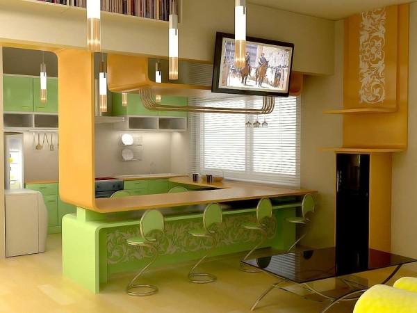 дизайн маленькой гостиной-кухни