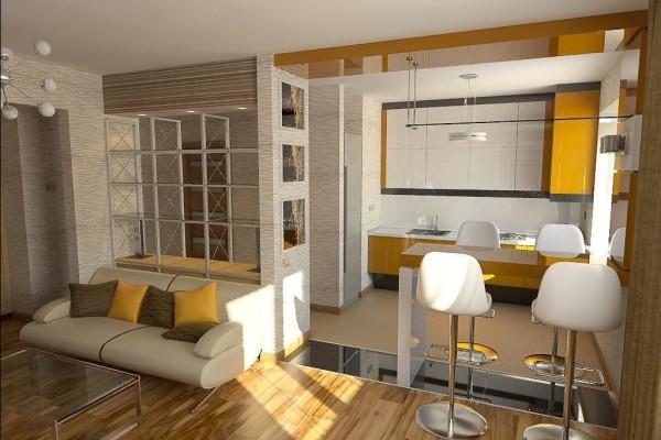 оформление совместной кухни и гостиной