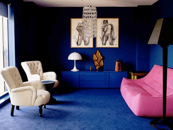 дизайн гостиной в синих тонах