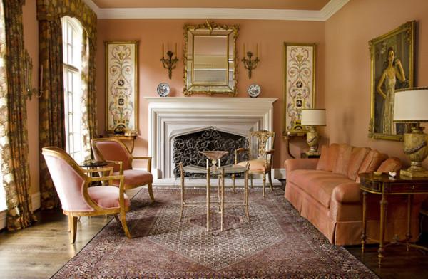 оформление гостиной в персиковых тонах