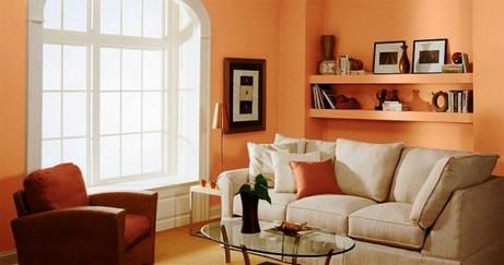 дизайн персиковой гостиной