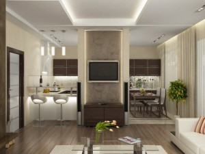 дизайн проект кухни-гостиной