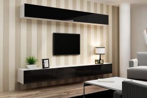 белый и черный в интерьере гостиной