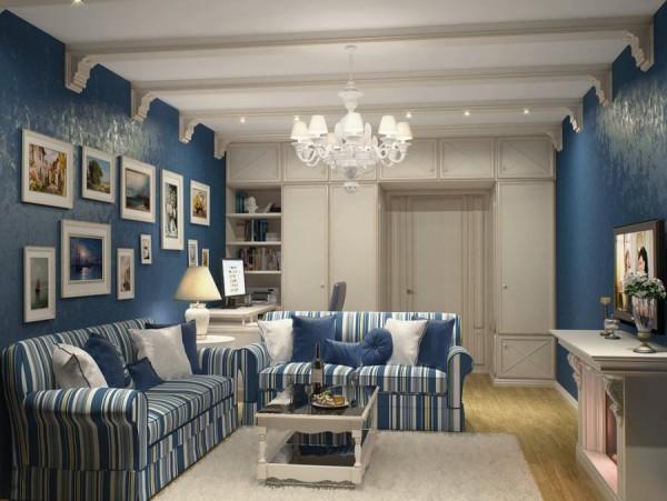 интерьер гостиной в синих тонах