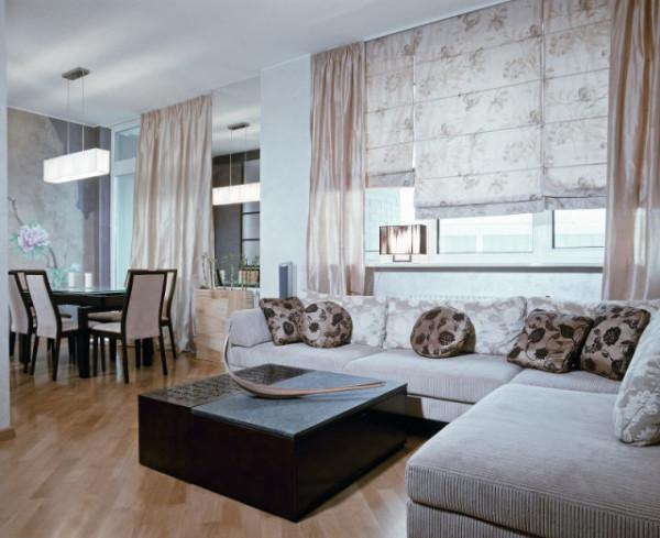 римские шторы в гостиной