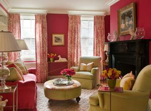 Розовый цвет в интерьере гостиной комнаты