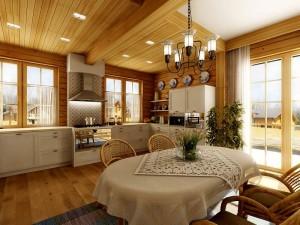 Дачная кухня-гостиная в частном доме