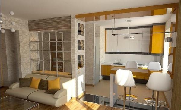 идеи зонирования кухни-гостиной