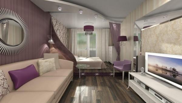 спальня, объединенная с гостиной