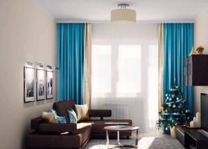 коричневый диван в интерьере гостиной