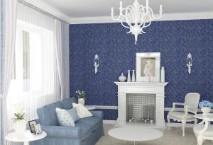 Синие обои в интерьере гостиной комнаты
