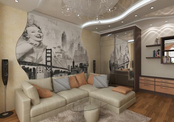 фотографии на стене в гостиной