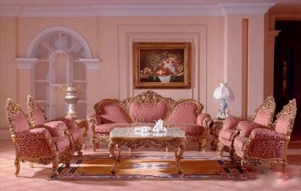 классические обои для гостиной рококо
