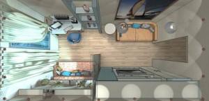 гостиная-спальня в хрущевке