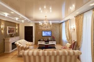интерьер гостиной в бежево-коричневых тонах