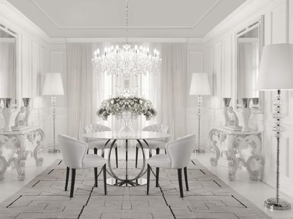 круглый стол в интерьере гостиной