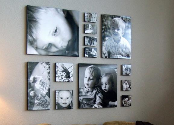 фото на стене в гостиной