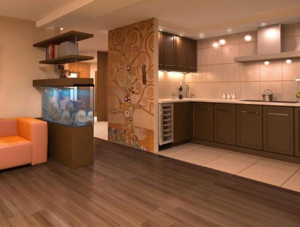 зонируем гостиную-кухню