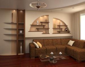 стены из гипсокартона в гостиной