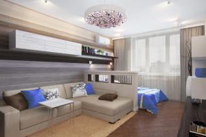 Планировка спальни, совмещенной с гостиной