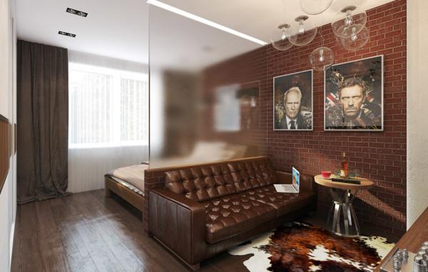 спальня, совмещенная с гостиной