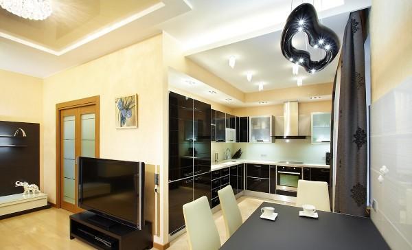 гостиная-кухня в стиле минимализм