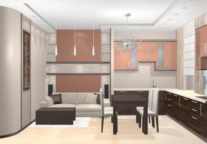 кухня-гостиная 13 кв м
