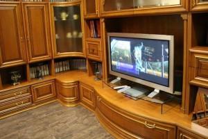 Полированная мебель в интерьере гостиной