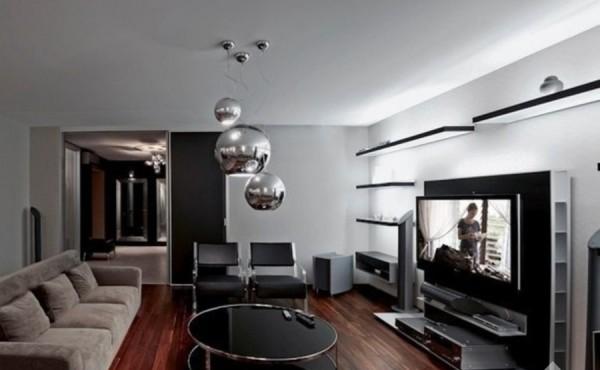 люстра модерн в интерьере гостиной