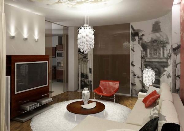 подвесная люстра модерн в интерьере гостиной