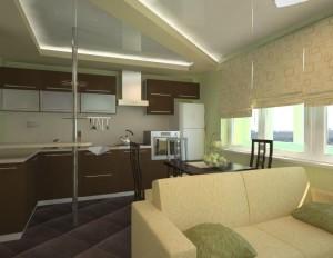 интерьер гостиной-кухни 12 кв м