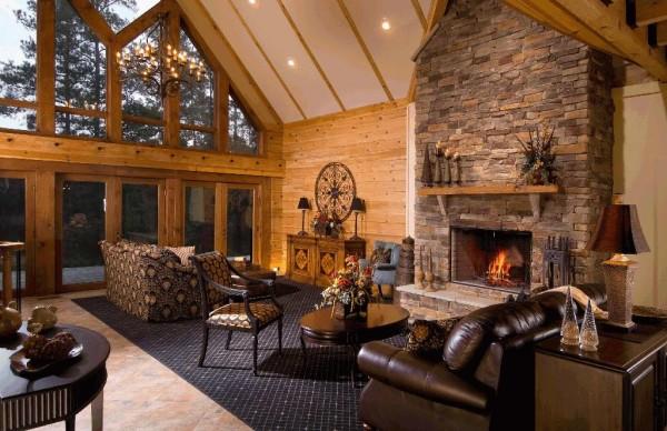 оформление гостиной в деревянном доме