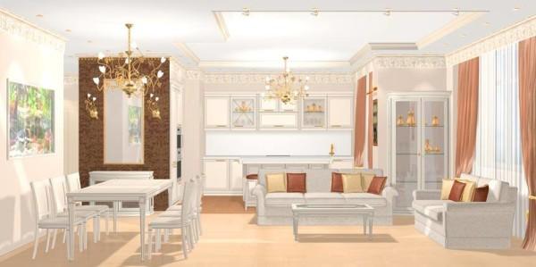 классический стиль в гостиной-кухне