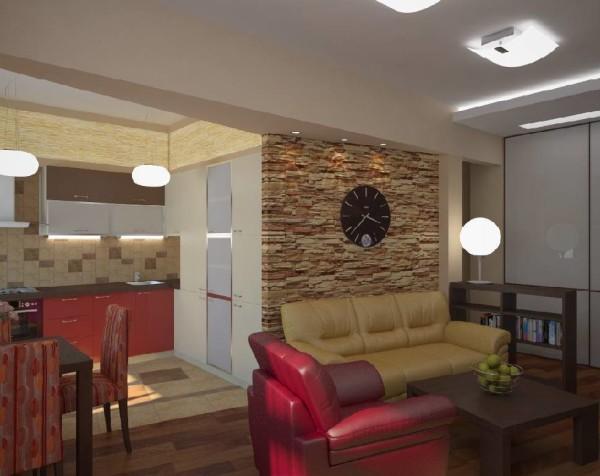 дизайн кухни-гостиной 14 кв.м