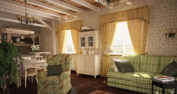 кухня совмещенная с гостиной в стиле прованс