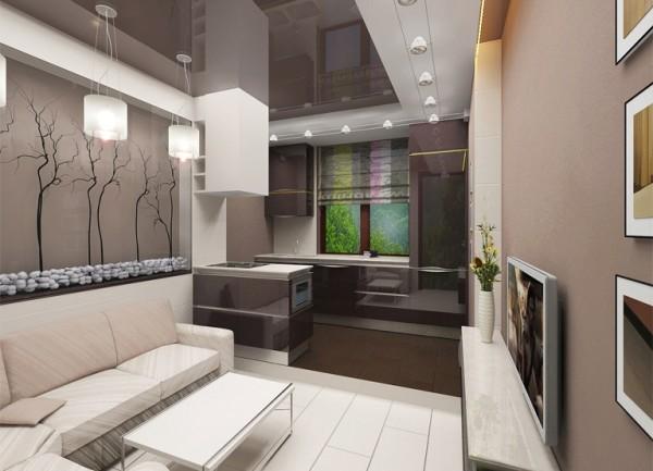 кухня-гостиная в стиле минимализм