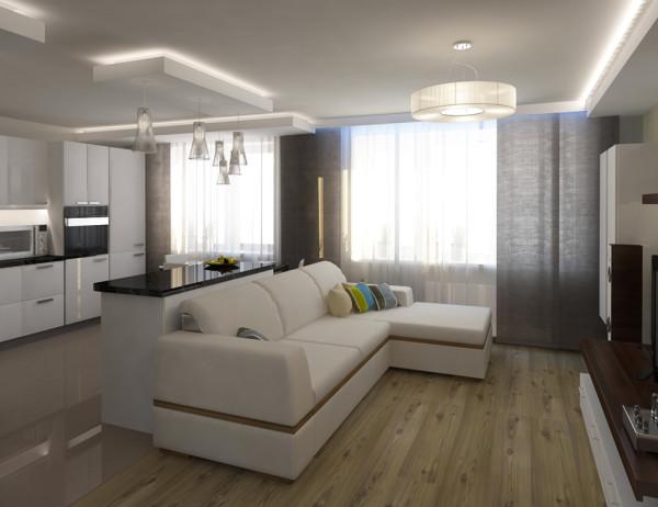 гостиная-кухня 15 квадратов